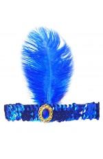 Blue 1920s Headband Feather Vintage Bridal Great Gatsby Flapper Headpiece gangster ladies