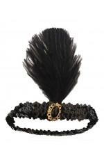 Black 1920s Headband Feather Vintage Bridal Great Gatsby Flapper Headpiece gangster ladies