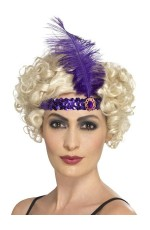Purple 1920s Headband Feather Vintage Bridal Great Gatsby Flapper Headpiece gangster ladies