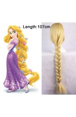 Rapunzel Disney Princess Tangled Story Book Week Adult Women Long Blonde Braid Hair Costume Wig