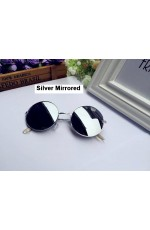 Silver Mirrored Sunglasses Retro 80s Round Frame