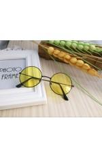 Yellow Retro 80s Round Frame Sunglasses