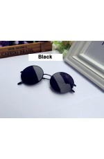 Black Retro 80s Round Frame Sunglasses