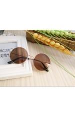 Brown Retro 80s Round Frame Sunglasses