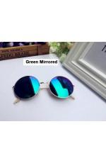 Green Mirrored Sunglasses Retro 80s Round Frame