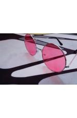 Pink Retro 80s Round Frame Sunglasses