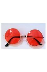 Orange Pink Retro 80s Round Frame Sunglasses