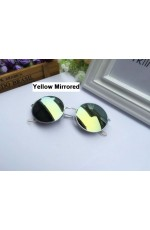 Yellow Mirrored Sunglasses Retro 80s Round Frame
