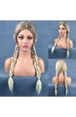 Long Braided Blonde Wig + Cap