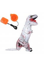 White ADULT T-REX INFLATABLE Costume Jurassic World Park Blowup Dinosaur TRex T Rex