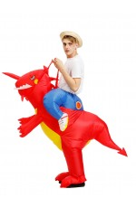 Adult Red Dinosaur t-rex carry me inflatable costume