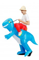 Adult Blue Dinosaur t-rex carry me inflatable costume