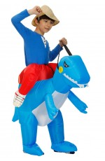 Kids Blue Dinosaur t-rex inflatable piggy back costume