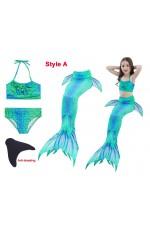 Girl Mermaid Tail With Monofin Bikini Swimsuit Costume