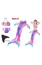 Girls Mermaid Tail Monofin Swimsuit Costume