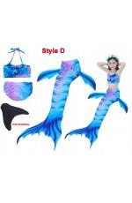 Girls Mermaid Swimsuit Costume with Monofin