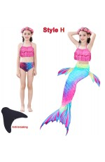 Girls Kids Mermaid Swimmable Swimsuit Costume with Monofin