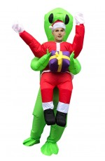 Green Alien Carry Santa Xmas ET carry me inflatable costume
