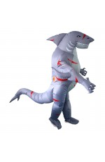 Grey shark carry me inflatable costume