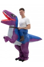 Purple T-Rex Dinosaur Carry Me Inflatable Costume