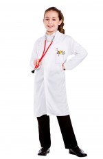 Boys Girls Doctors Scientist White Lab Dentist Surgeon Hospital Coat Fancy Dress Costume