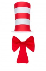 Kids Stripe Cat in the Hat Bow Tie Children Accessories Boys Girls Book Week Dr Seuss