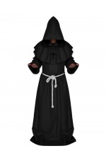Black Medieval Friar Hooded Robe Monk Cross Necklace Renaissance Costume