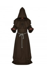 Brown Medieval Friar Hooded Robe Monk Cross Necklace Renaissance Costume