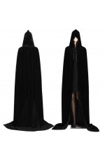Black Adult Hooded Velvet Cloak Cape Wizard Costume