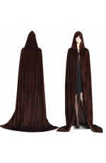 Coffee Adult Hooded Velvet Cloak Cape Wizard Costume