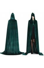 Green Adult Hooded Velvet Cloak Cape Wizard Costume