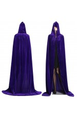 Purple Kids Hooded Velvet Cloak Cape Wizard Costume