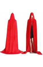 Red Adult Hooded Velvet Cloak Cape Wizard Costume