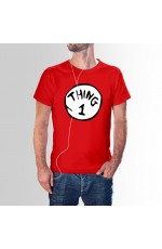 Couples Mens Dr Seuss Cat In The Hat Thing One 1 And Thing Two 2 Twins Top T-Shirt Book Week Funny Costume