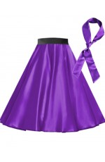 Purple Satin 1950's Rock n Roll Style 50s skirt