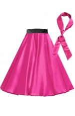 Hot Pink Satin 1950's Rock n Roll Style 50s skirt