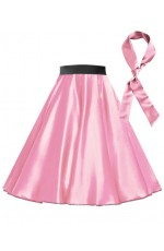 Pink Satin 1950's Rock n Roll Style 50s skirt
