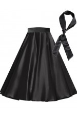 Black Satin 1950's Rock n Roll Style 50s skirt