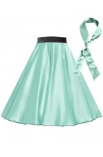 Light Blue Satin 1950's Rock n Roll Style 50s skirt