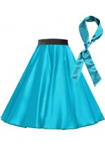 Aqua Blue Satin 1950's Rock n Roll Style 50s skirt