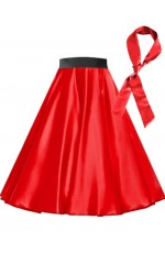 Red Satin 1950's Rock n Roll Style 50s skirt