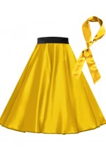 Yellow Satin 1950's Rock n Roll Style 50s skirt