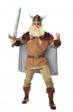 Mens Viking Warrior Costume with Cape
