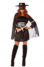 Ladies Zorro Fancy Dress Costume