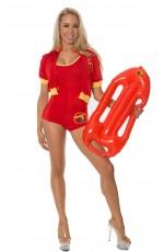 Ladies Beach Lifeguard Uniform Fancy Dress Costume Outfits
