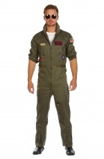 Mens Aviator Costume Pilot Flight 80's Film Suit Pete Mitchell Maverick