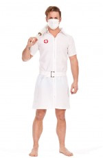 Mens Twisted Joker Nurse Fancy Dress Costume