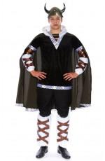 Viking Costumes - Mens Viking King Battle Warrior Mens Adult Fancy Dress Halloween Costume