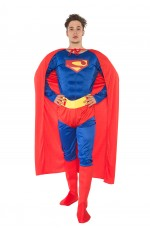 Adult Superman Muscle Chest Super Hero Halloween Costume  Outfit Fancy Dress Party