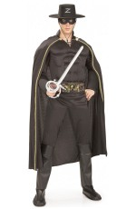 Zorro Costumes - Mens Deluxe Zorro Muscle Chest Halloween Hero Fancy Dress Adult Costume